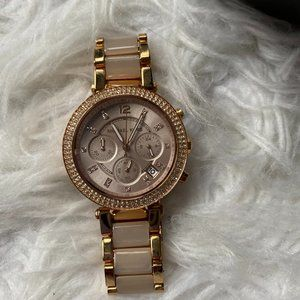 Michael Kors Rose Gold and Pink Ceramic Watch